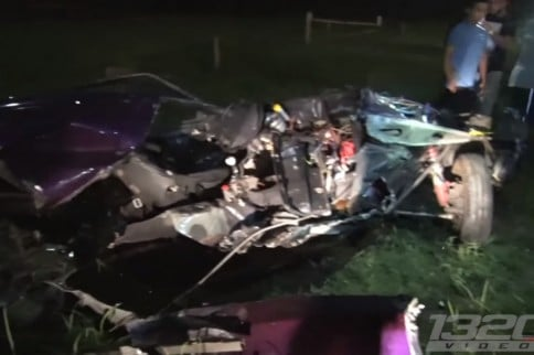 Insane Video: Mustang Ripped In Half After A Street Race Crash!
